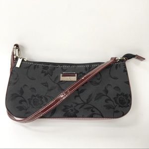 KATE SPADE Black/Maroon Floral Tapestry Mini Bag